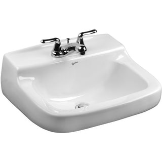 """Mansfield 2008-4  Walnut Knoll 21"""" Vitreous China Wall Mounted Bathroom Sink with 3 Faucet Holes at 4"""" Centers and Overflow"""