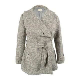 Maison Jules Women's Wool Blend Belted Coat - Heather Grey