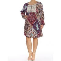 STYLE & CO Womens Purple Printed Long Sleeve Scoop Neck Above The Knee Fit + Flare Dress  Size: XXL