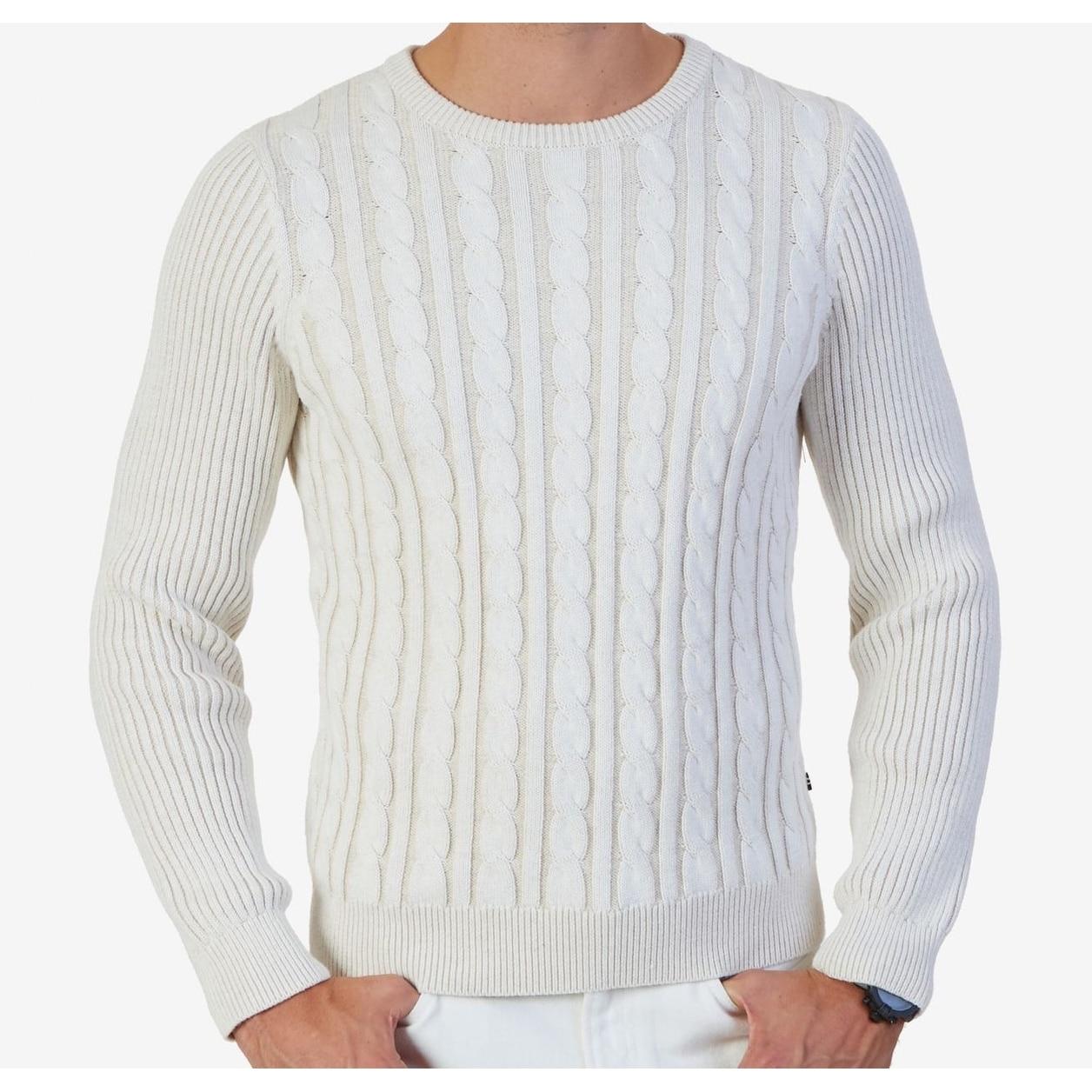 Nautica NEW White Mens Size Medium M Crewneck Cable Knit Sweater