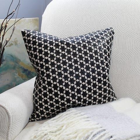 Natural Geo Black/White Leather Geometric Star Throw Pillow