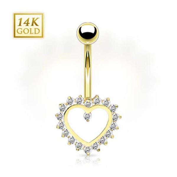 14 Karat Solid Yellow Gold Gem Paved Heart Navel Belly Button Ring