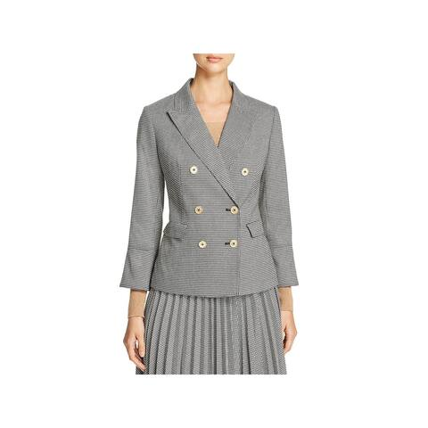Donna Karan Womens Double-Breasted Blazer Houndstooth Office