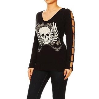 Funfash Women Plus Size Black Long Sleeves V Neck Gothic Skull Shirt