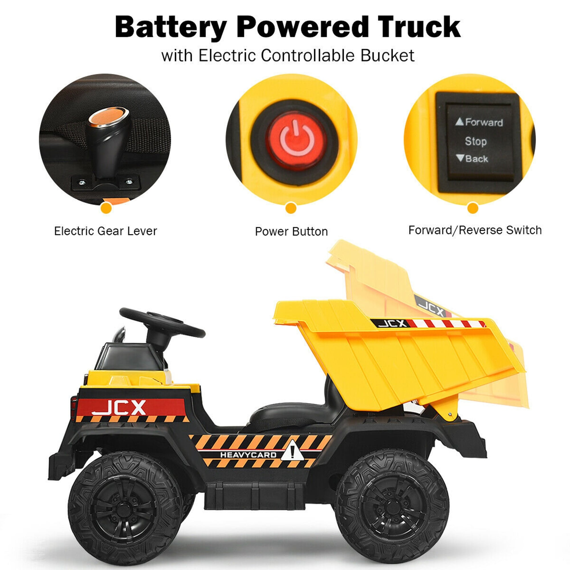 Gymax 12v Battery Kids Ride On Dump Truck Rc Construction Tractor W 42 5 X 25 5 X 23 Overstock 32410350
