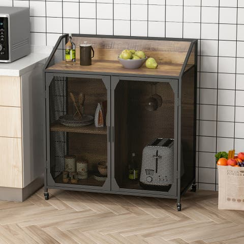 Industrial Storage Cabinet, Storage Sideboard with Metal Mesh For Kitchen