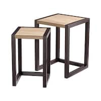 "Cyan Design Becket Nesting Tables Becket 17.5"" Long Wood Nesting Table - oak veneer and black veneer - n/a"