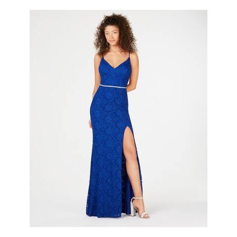 CITY STUDIO Blue Spaghetti Strap Full-Length Dress 5