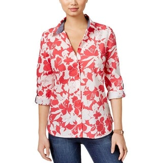 Tommy Hilfiger Womens Button-Down Top Floral Print Adjustable Sleeves