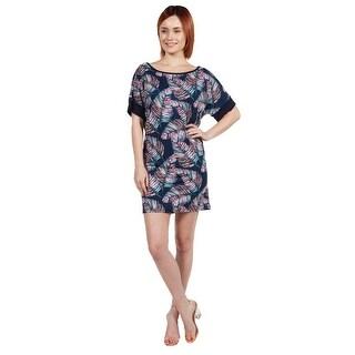 24seven Comfort Apparel Taylor Blue Feather Print Mini Dress