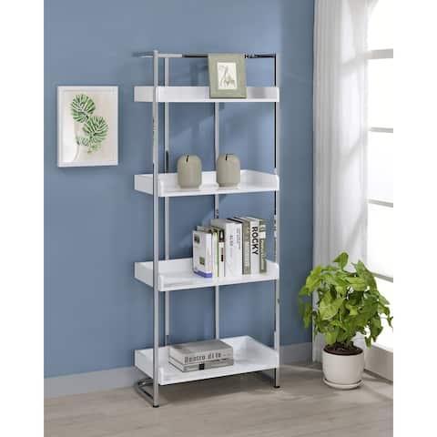 Ember Glossy White 4-shelf Open Back Bookcase