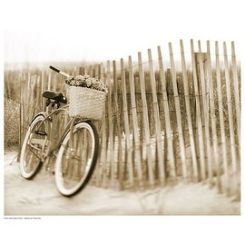 ''Bike by Beach Fence'' by Anon Transportation Art Print (11.5 x 14.5 in.)