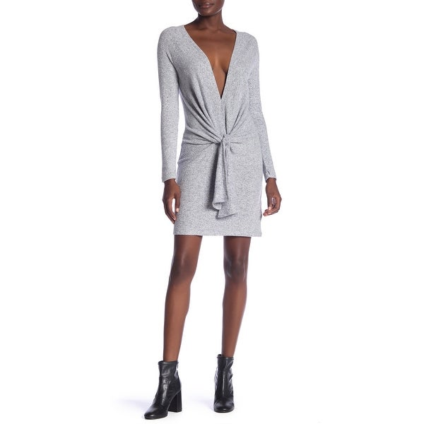 d1a409ccdd7 Shop Free People Gray Women s XS Ginger Cozy Tie Front Sweater Dress - Free  Shipping On Orders Over  45 - Overstock - 27743718