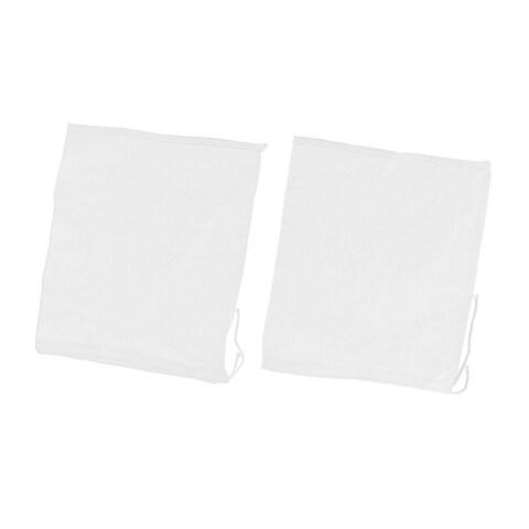 2 Pcs Drawstring Seal Soup Food Filter Mesh Bag 26cm x 23cm White