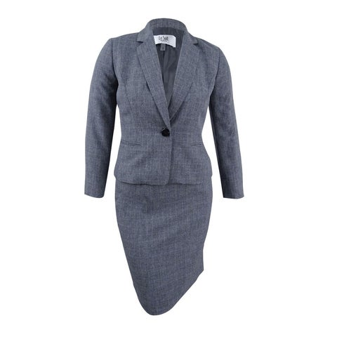 Le Suit Women's Petite Crosshatch Plaid Skirt Suit - grey