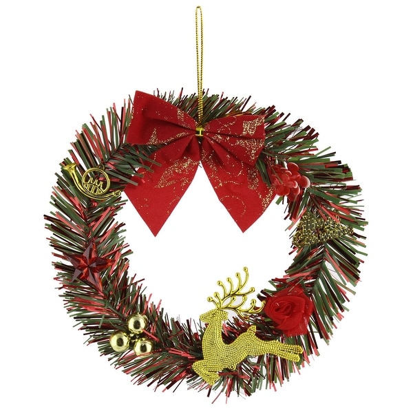 Christmas Day Bowknot Deer Flower Pattern Wreath Tree Decoration Tricolor
