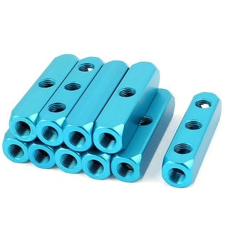 10pcs 1/4BSP Thread 3Ways 6Ports Air Pneumatic Aluminum Manifold Block Splitters