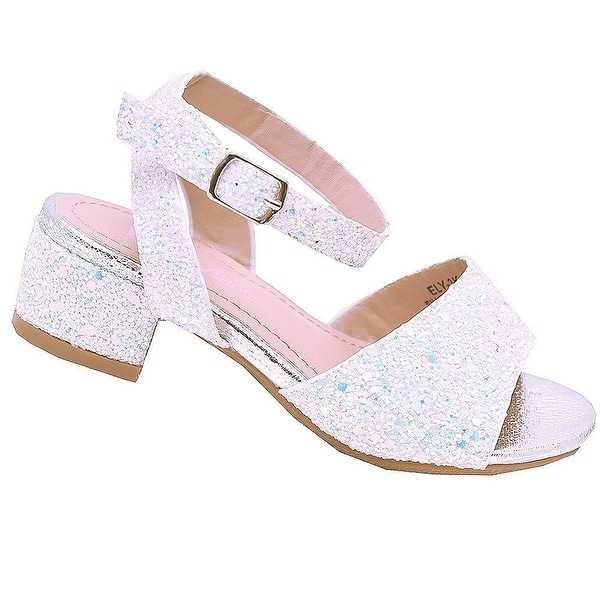 7d1a967eb Shop Bella Marie Girls Silver Glitter Block Low Heel Open Toe Sandals -  Free Shipping On Orders Over  45 - Overstock - 25600417