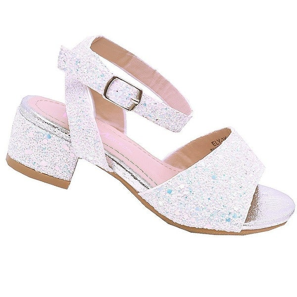 f6c57eef088 Shop Bella Marie Little Girls Silver Glitter Block Low Heel Sandals ...