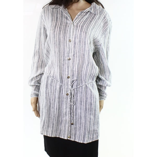 586b02ad8fabb Shop Tory Burch NEW Blue Womens Size XL Button Down Pin-Stripped ...