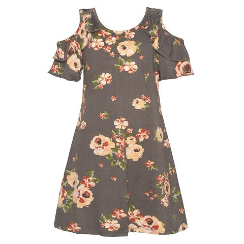 5fe4c4d7ad Little Girls Charcoal Colorful Rose Print Cold Shoulder Ruffle Dress
