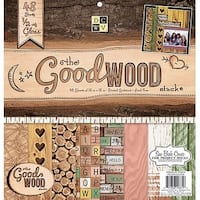 """Dcwv Single-Sided Cardstock Stack 12""""X12"""" 48/Pkg-The Good Wood, 24 Designs/2 Each"""