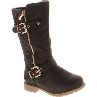 Lucky Top Garb-1K Kid's Girl Quilted Buckle Side Zipper Knee High Riding Boots - Brown
