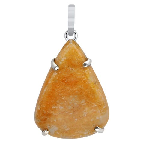 Aventurine Sterling Silver Pear Chain Pendant by Orchid Jewelry
