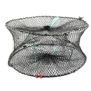 Foldable Crab Mesh Crawfish Shrimp Lobster Fishing Net Cage Black 44 x 20cm