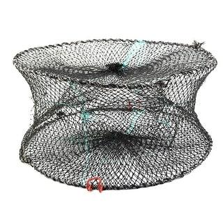 Foldable Crab Mesh Crawfish Shrimp Lobster Fishing Net Cage Black 46 x 19cm
