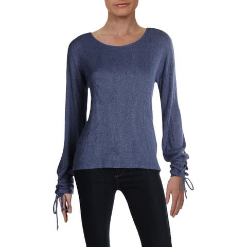 Red Haute Womens Knit Top Ribbed Lace-Up