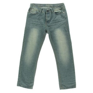 Ring Of Fire Mens Keystone Sandblasted Slim Fit Straight Leg Jeans