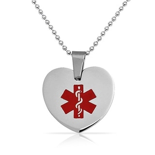 Bling Jewelry Medical ID Heart Dog Tag Pendant Stainless Steel Necklace