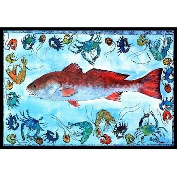 Carolines Treasures 8087-JMAT 36 x 24 in. Fish Red Fish Indoor Or Outdoor Doormat