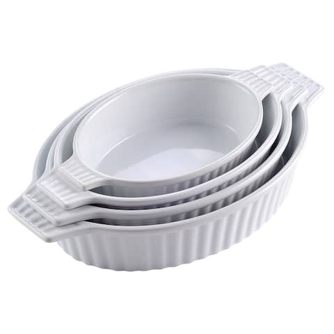 4-Piece White Oval Bakeware Set Porcelain Baking Dishes for Cooking