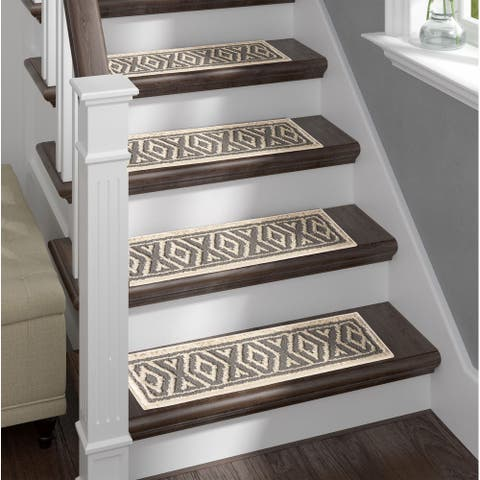 Sofia Rugs Shag Stair Treads Gray Aura Set of 13 with double sided tape