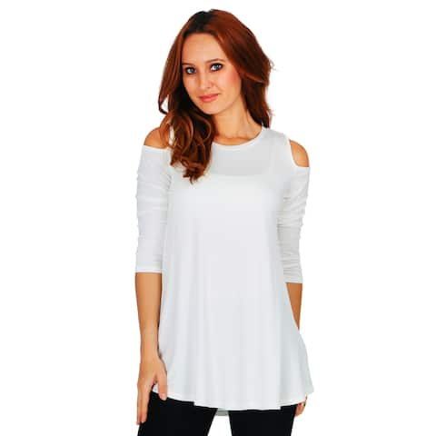 dbd35b22 Simply Ravishing Women's Cold Shoulder Flare 3/4 Sleeve Blouse Top Tunic  Shirt (Size
