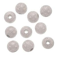 Silver Plated Stardust Sparkle Round Beads 10mm (20)