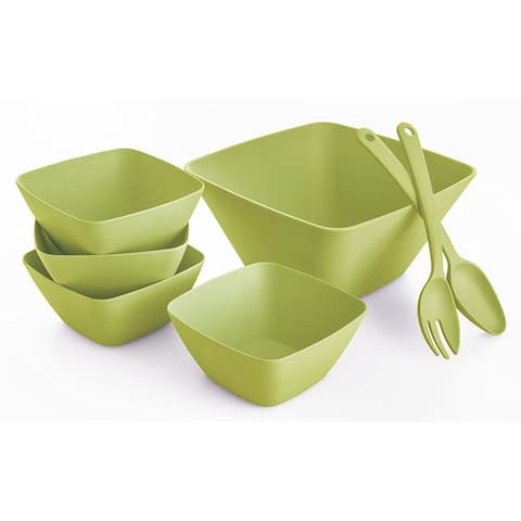 Bambootiful BT7601 7-Piece Bamboo Leaf Square Salad Serving Set, Green