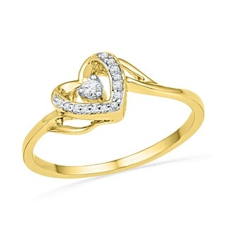 1/12Ctw Diamond Heart Ring Yellow-Gold 10K