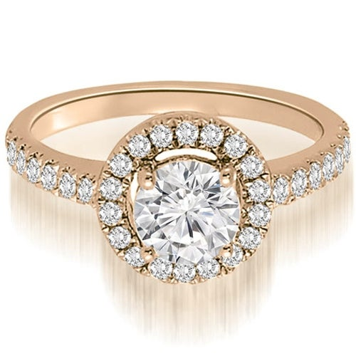 1.00 cttw. 14K Rose Gold Halo Petite Round Cut Diamond Engagement Ring