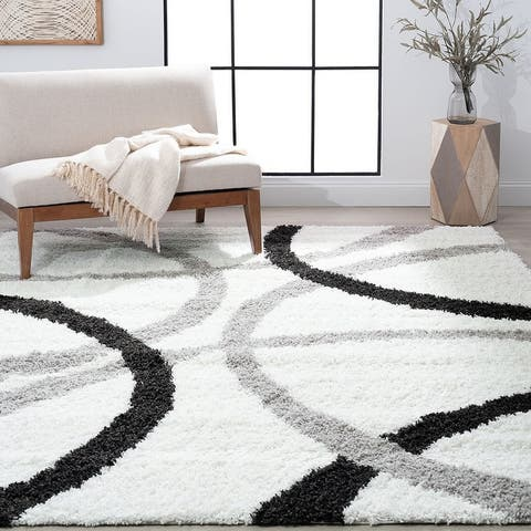 Alise Rugs Upscale Shag Contemporary Abstract Area Rug