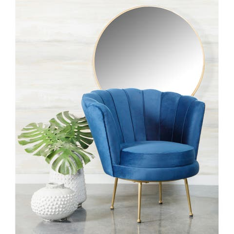 Blue Channeled Tufted Barrel Accent Chair