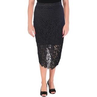 Bardot Womens Pencil Skirt Lace Overlay Mid-Calf
