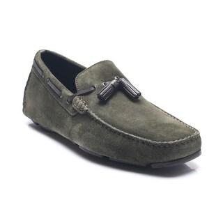 Bruno Magli Men's Leather Suede Estol Driving Shoes Loafers Olive Dark Green Brown