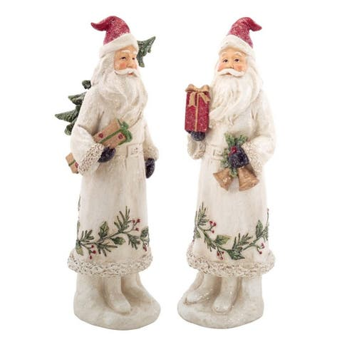12-Inch White and Red Santa Claus Carrying a Tree with a Present Christmas Decor