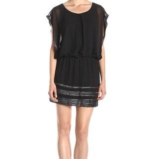 SLNY NEW Black Silver MEtallic Trimmed Women's Size 14 Blouson Dress