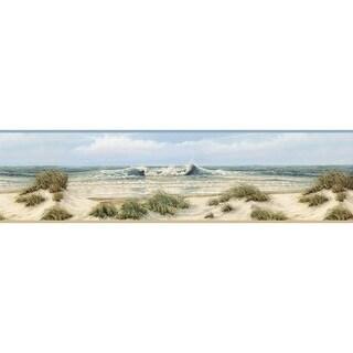 Brewster DLR53611B Falmouth Beige Dunes Border Wallpaper