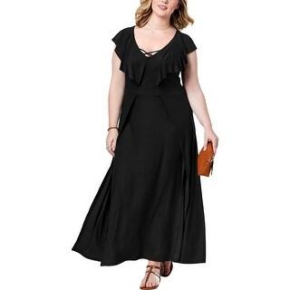 Planet Gold Womens Plus Maxi Dress Ruffle Sleeves Split