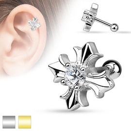 CZ Centered Celtic Cross 316L Surgical Steel Cartilage/Tragus Barbell (Sold Ind.)